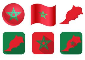 Vecteurs de drapeau marocain vecteur