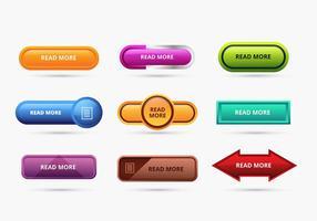 Ensemble de couleurs Lire plus de boutons vecteur