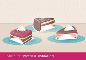 Illustrations de vecteur de tranches de gâteaux