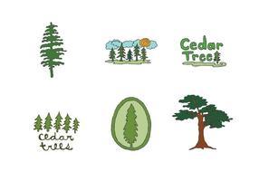 Série gratuite de vecteurs d'arbres de cèdres vecteur