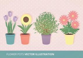 Fleur Pots Illustration Vectorisée vecteur