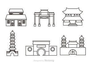 Icônes de contours de temple chinois vecteur