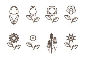Vecteurs de contours de fleurs vecteur
