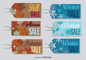 Étiquettes de vente de dégagement de saison vecteur