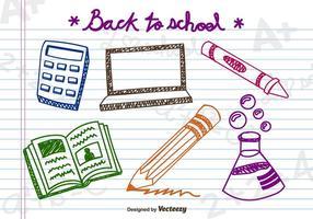 Objets scolaires Doodle vecteur
