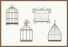 Vecteurs vintage cage d'oiseaux
