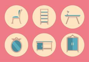 Ensemble d'icônes de mobilier de vecteur