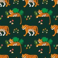 tigres chats sauvages modèle sans couture