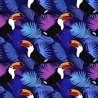 motif lumineux tropical avec motif sans soudure de toucans vecteur