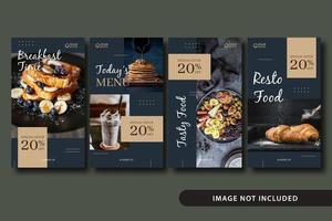 modèle d'histoires de médias sociaux de nourriture élégante vecteur