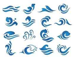 ensemble de logo de vague d'eau bleue vecteur