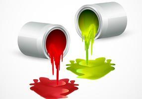 Vecteurs de godets à peinture avec des couleurs vecteur