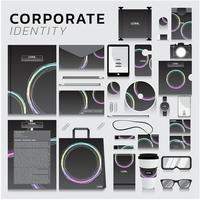 identité d'entreprise sertie de conception de cercle pastel
