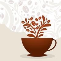 Vecteur floral de coupe de café