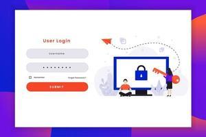 page de connexion utilisateur avec deux caractères
