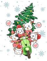 chats de santa clause à cheval sur un cyclomoteur portant l'arbre de Noël