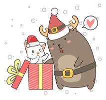 renne de dessin animé et chat dans une boîte cadeau
