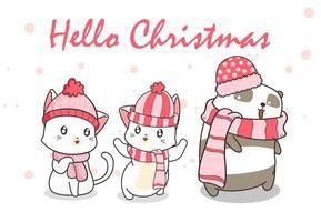 '' bonjour noël '' avec des chats et des pandas en vêtements d'hiver