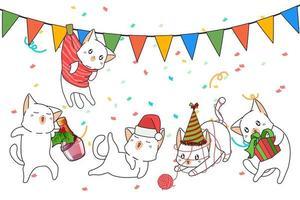 personnages de chats célébrant Noël vecteur