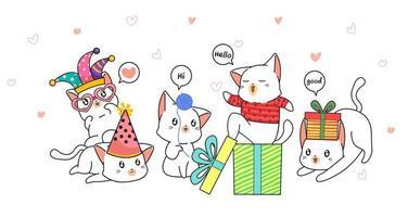 chats dessinés à la main célébrant avec des cadeaux