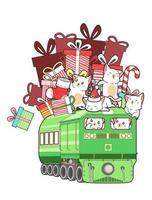 chats à cheval sur le train plein de cadeaux
