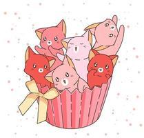 chats roses dessinés à la main dans un emballage de petit gâteau vecteur