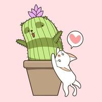 chat blanc dessiné à la main avec cactus vecteur