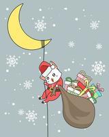 Chat de Santa Clause tenant un sac de cadeaux glissant sur la corde de la lune