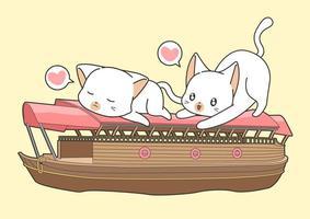 adorables amis chats sur le bateau