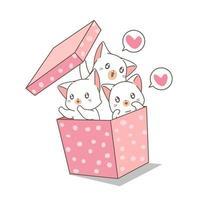 chats dessinés à la main dans une boîte à pois rose
