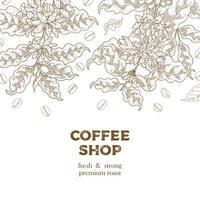 bannière vintage de café dessiné à la main