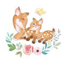 mignon, cerf animal, famille, à, petit oiseau