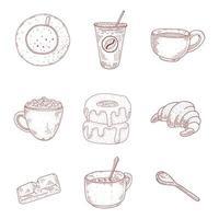 ensemble de dessinés à la main café et desserts vintage
