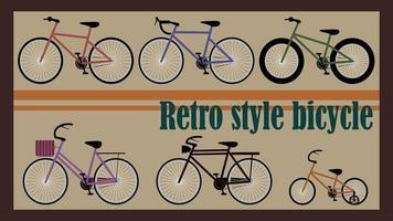 ensemble de vélos de style rétro vecteur