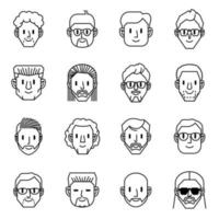 jeu d'icônes avatar homme vecteur