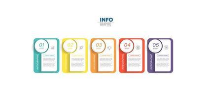 infographie d'affaires coloré en cinq étapes vecteur
