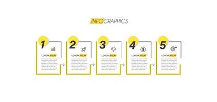 infographie jaune numérotée vecteur