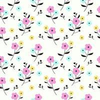 motif floral dessiné à la main coloré vecteur