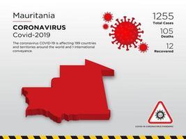 carte de pays touché par le coronavirus en Mauritanie