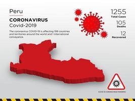 Pérou carte du pays touché par le coronavirus vecteur