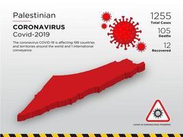 palestine, pays touché, carte, coronavirus vecteur