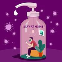 affiche du virus corona avec homme dans une bouteille de savon