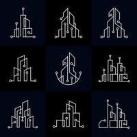 ensemble de collection de bâtiments de technologie mono line vecteur