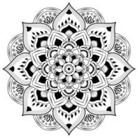 fleur de mandala en noir et blanc vecteur