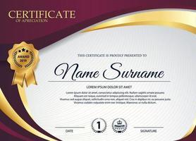 certificat d'appréciation violet et or