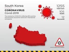 carte du pays touché par le konavirus dans le sud de la koria