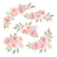 ensemble de bouquet de fleurs rose aquarelle