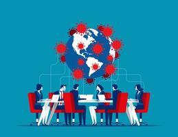 réunion mondiale sur covid-19 vecteur
