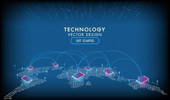conception de réseaux de connexion de technologie mobile vecteur