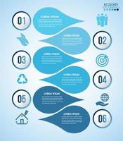 infographie de conception de l'eau bleue avec 6 étapes